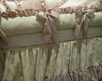 Diaper stacker to match Crib Set Baby Bedding In Blush Pink and  Ivory Damask  for Stafanie P.