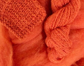 Pumpkin Orange - appx. 8 ounces - Wool and Mohair Roving