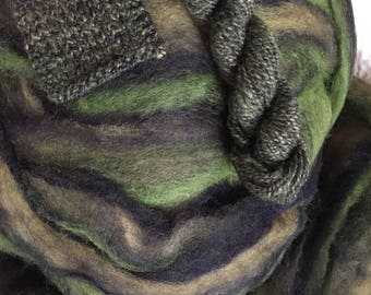 Moss and Lichens - appx. 8 ounces - Wool and Mohair Roving