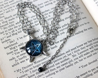 Infinity Pentacle Cabochon Pentacle Pentagram Necklace with Blue Tiger Eye Bead - Witchy Jewelry Witchcraft Pentagram