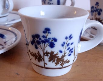 Noritake Primastone Coffee Cups Saucers / Winsome Pattern / Set of Four  / Blue Brown / Mid Century Kitchen / Mid Century Dinnerware