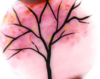 Tree Silhouette on pink rouge, Illustration in Glass, handmade lampwork glass tab bead focal by JC Herrell