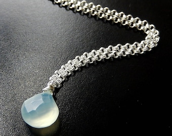 Mint Chalcedony Necklace, Aqua Teardrop Silver Plated Jewelry