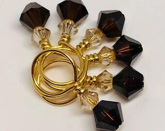 Stitch Markers - MINIS Mocha and Gold Shadow Swarovski Crystal