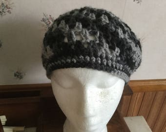 Crochet Hat In Gray and Black Adult Beret Cloche Granny Style