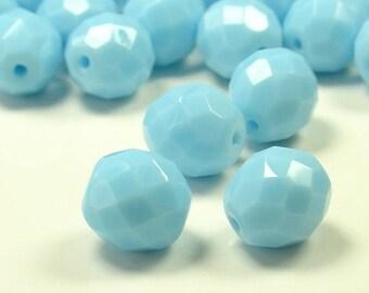 20% Off Sale 10mm Fire Polished Opaque Light Blue Czech Glass Beads - 10 Pieces - 0394