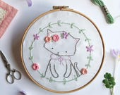 Little Miss Kitten - Hand Embroidery Pattern - PDF Cat Floral Embroidery