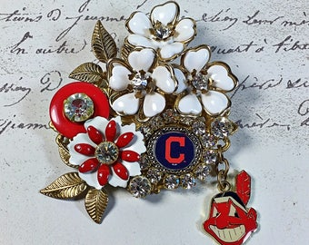 Cleveland Indians Vintage Collage brooch pin sports Tribe rhinestone flowers red white