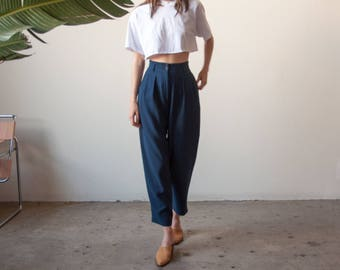 navy blue crepe waist pants / pleated trousers / high waist pants / s / US 6 petite / 2689t