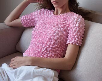 pink micropleat popcorn top / simple crinkled top / minimalist top / s / m / 3175t / B18