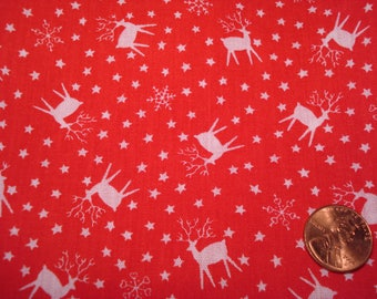 Quarter yard VINTAGE fabric RED and WHITE tiny deer stars snowflakes Winter doll dress sewing quilting