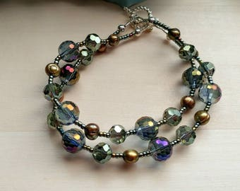 Two Strand Glass and Freshwater Pearl Bracelet