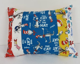 Patchwork Pillow Cover - Baby Toddler Nursery Decor Baby Crib Bedding - Travel - 12 in x 16 in - Cat in the Hat Dr. Seuss Fabrics