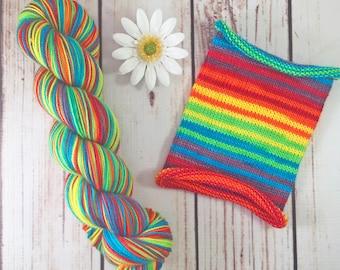 When They Go Low, We Go Rainbow: Hand-dyed gradient self-striping sock yarn, 80/20 SW merino/nylon