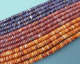 Spiny Oyster Rondelle Beads, 6MM Spiny Oyster Beads, Spiny Oyster Button Beads, Purple Spiny Oyster, Orange Spiny Oyster, Red Spiny Oyster