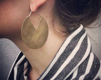 BIG geometric brass circle disc earrings with sterling closure