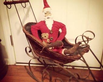 CustomerAppreciationSale Primitive Doll,  Christmas, Santa, Pete Christmas Paper Mâché ready to ship