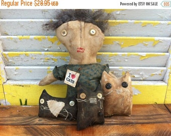 CustomerAppreciationSale Primitive Doll I love Cats-