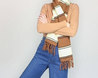 70s Brown Stripe Scarf