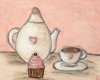 Pink Teapot and Cupcake Art Print Girly Tea