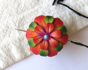 Orange Flower Needle Minder Magnetic Sewing Needle Notions