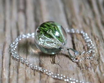 Woodland Heather Leaves and Moss Necklace with Sterling Silver Chain, Forest Jewelry, Terrarium Jewelry, Terrarium Necklace
