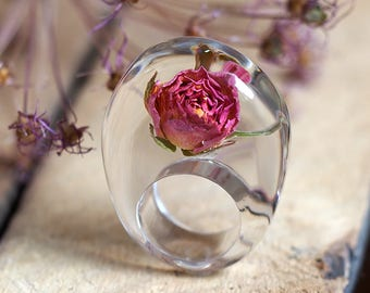 Clear Resin Ring with Rose, Resin Ring, Resin Jewelry, Botanical Jewelry, Statement Ring, Floral