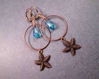 Copper Starfish Earrings, Blue Glass Beaded, Long Dangle Earrings, FREE Shipping U.S.