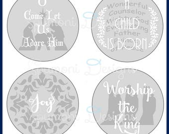 Set II of Christmas Christian Religious SVG Cut Files, Ornaments Votives Cricut Silhouette cut file Nativity Adore JOY Worship Kings Gifts