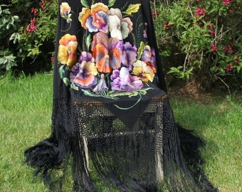 Stunning Antique Embroidered Silk Piano Shawl - Pansies