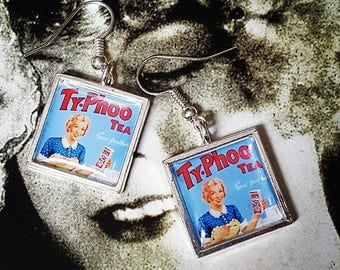 Vintage Typhoo Tea Advert Earrings