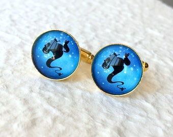 The Genie Cufflinks - Genie and Lamp Silhouette Great for Disney Aladdin Themed Wedding - Disney Jewelry and Accessories Cufflink Sets