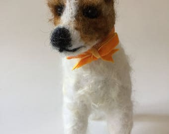 Needle Felted Jack Russell Terrier Dog Sculpture