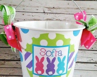 ON SALE Sweet Bunny Trio Easter Pail