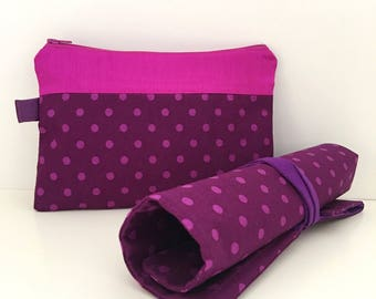7 slots Purple Polka Dots Makeup Brush Roll and Pouch Travel Set