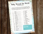 Baby Shower Game - Baby Around the World Shower Game - Adventures Await Shower Game - Baby Around the World Instant Download - Travel Theme