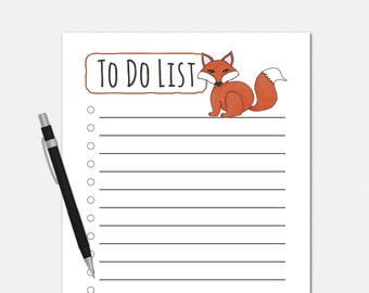 To Do List Notepad - Red Fox To Do List - To Do List Notepad - Fox Notepad - To Do Notepad
