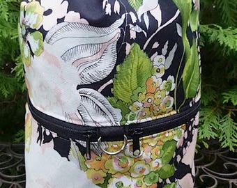 Pretty large knitting bag, drawstring bag, knitting in public bag, large project bag, Greenwich, Large Kipster