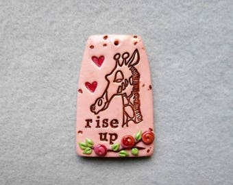 Inspirational Saying/Quote Pendant/Giraffe Pendant in Polymer Clay - Rise Up