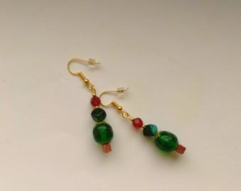 Christmas Tree Earrings, Gold Plated Earrings, Green& Red Austrian Glass Crystal, Holiday Tree - Winter Holidays by enchantedbeads on Etsy