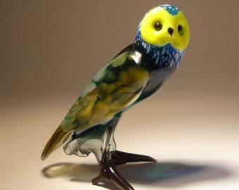 Blown Glass Figurine Art  Bird Blue OWL with Yellow Face