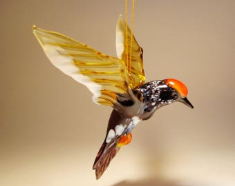 Handmade Blown Glass Figurine Art Hanging WOODPECKER Ornament