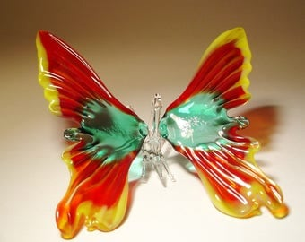 Blown Glass Figurine Art Insect Yellow, Red and Green Hanging BUTTERFLY Ornament with a Hanging Hook