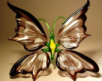 Blown Glass Figurine Art Insect Black and White BUTTERFLY
