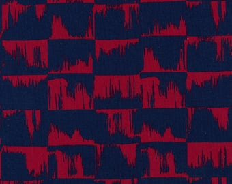Japanese Fabric Kokka Ellen Baker Paint - brushstrokes - navy, red - 50cm