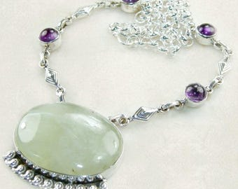 Sale: Green Serpentine and Purple Amethyst Necklace
