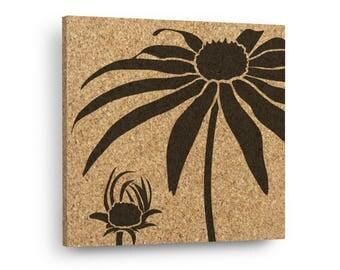BLACK EYED SUSAN Mix & Match Floral Cork Decor Art Tiles Or Kitchen Trivet - Wall DéCork