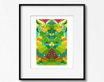 Green Abstract Art, Modern Art Print, Apple Green, Abstract Art Print, Contemporary Art, 8x10, Mustard Yellow, Gallery Wall, Turquoise Blue