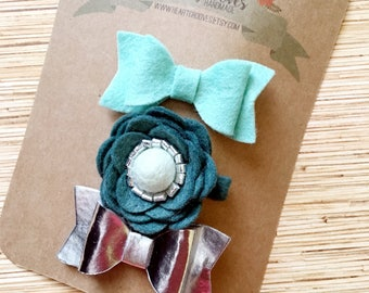 Teal and Silver Felt Flower and Bow Hairclips (set of 3)