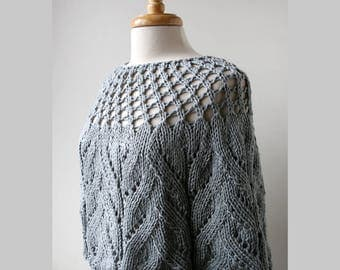 LIGHT GREY Chloe Cotton and Silk Knit Capelet, Chunky, Lace, Hand Knit, Made in New York, Soft, Hygge, Sweater, Poncho, Wrap, Cape, Winter
